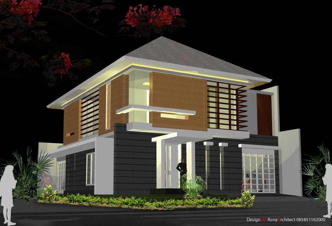 desain Rumah sudut mewah 2 lantai