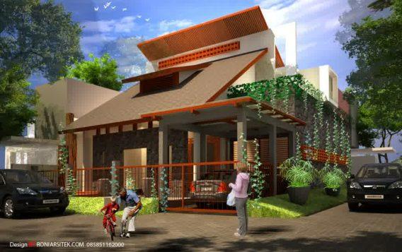Desain rumah pojok tropis modern 2 lantai