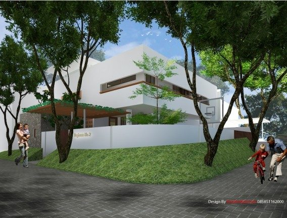 Desain rumah pojok modern 2 lantai