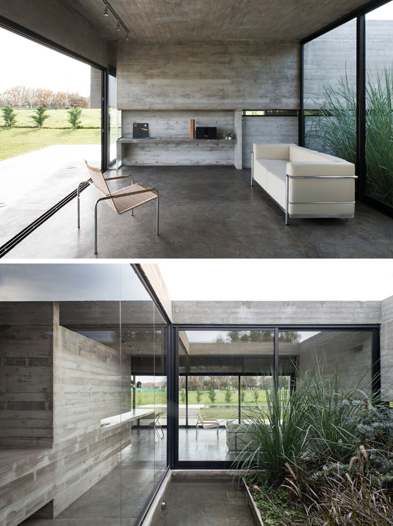 desain ruang keluarga berbahan semen