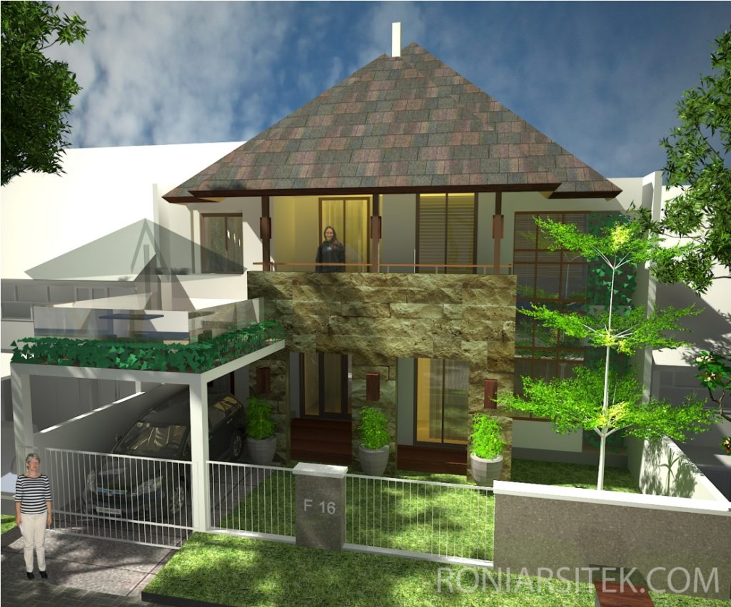 rumah tropis modern 2 lantai