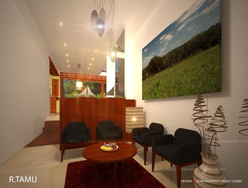 desain ruang tamu bertema alami