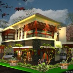 desain rumah pojok tema : rumah tropis modern