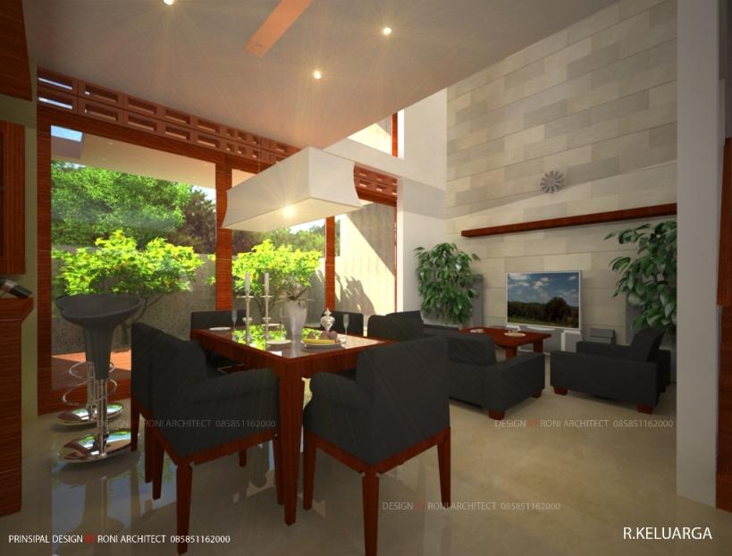 desain interior ruang keluarga dn ruang makan bertema alam