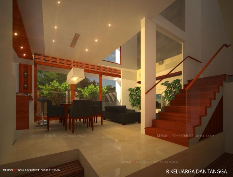 desain tangga modern dalam ruang keluarga