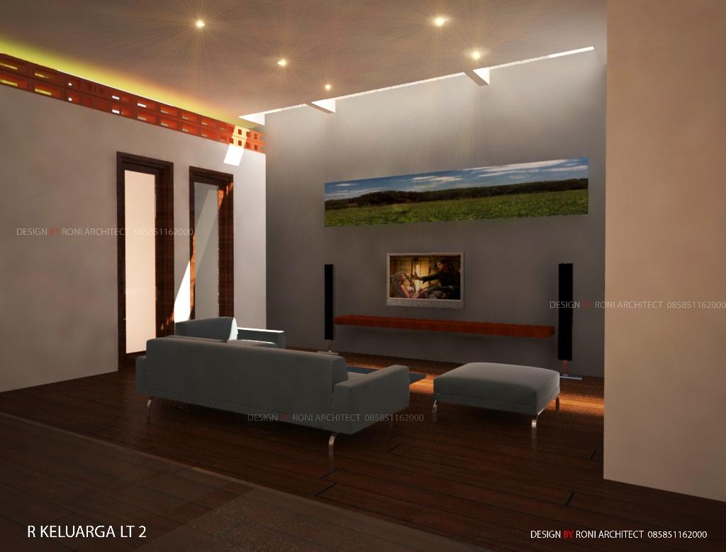 desain interior ruang keluarga di lantai 2 sehat dan hemat energi listrik