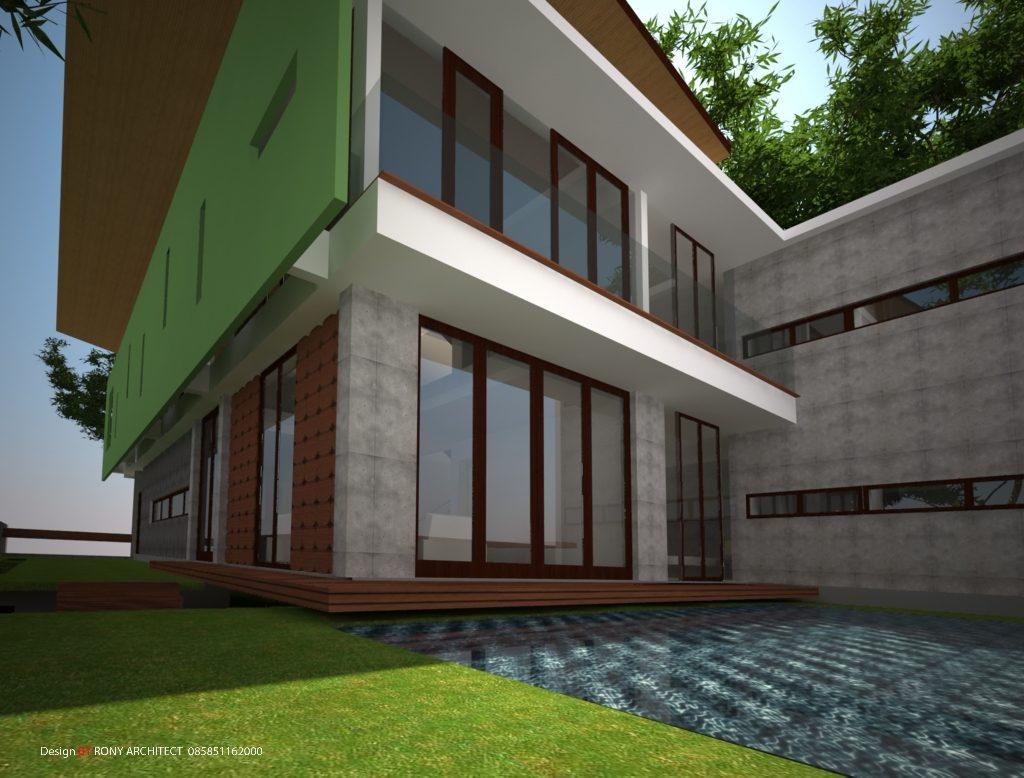 rumah modern dengan kolam renang
