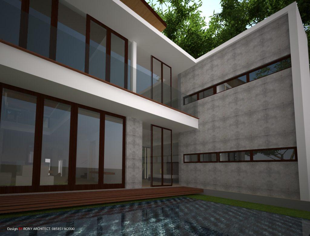 rumah dengan kolam belakang